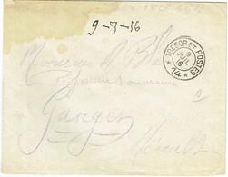 ESC Pour Ganges (34) - 9 Juillet 1916 - CAD Secteur Postal SP 14 - 69ème Bataillon Tirailleurs Sénégalais - Guerre 14-18 - Oorlog 1914-18