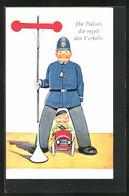 Künstler-AK Polizei, Der Wachmann Regelt Den Verkehr, Kleiner Junge Fährt Mit Seinem Auto - Police - Gendarmerie