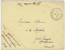 ESC Pour Ganges (34) - 14 Février 1917 - CAD Secteur Postal SP 107 - 163ème Régiment Infanterie - Guerre 14-18 WWI - Oorlog 1914-18