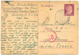 GUERRE 39-45 PRISONNIER Au GEMEINSCHAFTSLAGER NEUE HEIMAT HÜTTENSTRASSE 9 BARAKE 9 STUBE 2 KATTOWITZ Le 9-5-1944 - WW II