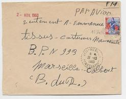 N° 1234 SEUL ETTRE FM AVION C. PERLE SIDI 31.10.1960 CONSTANINE ALGERIE - 1959-60 Marianne (am Bug)