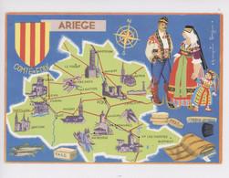 Ariège Comté De Foix - Géographique, Françoise Dague Illustrateur - Cp Vierge Les Départements Français - Other Municipalities