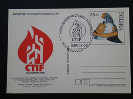 Entier Postal Stationery Card Pompiers Firefighter Truck Pologne Poland Ref 66725 - Entiers Postaux