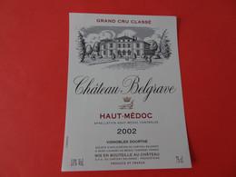 Etiquette Neuve Château Belgrave 2002 Grand Cru Classé Haut Médoc - Bordeaux
