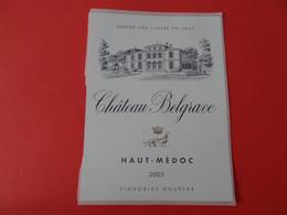 Etiquette Neuve Château Belgrave 2005 Grand Cru Classé Haut Médoc - Bordeaux