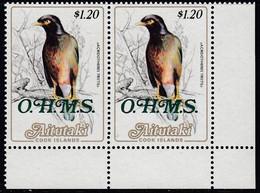Aitutaki 1988 - Official Stamp: Common Myna (bird) - Pair Mi 39 ** MNH - Aitutaki