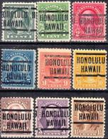 USA Precancel Vorausentwertung Preo, Locals Hawaii, Honolulu 204, 9 Diff. Perf. 1 X 11x11, 8 X 11x10 1/2 - Precancels