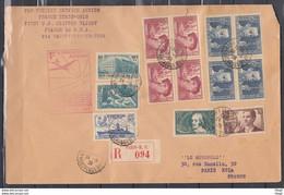 Recommandée Brief Van Paris Affranchissement Naar Paris (Frankrijk) First U.S. Clipper Flight Marseille-New York - Cartas