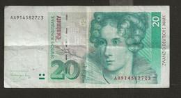 ALLEMAGNE /  Billet De 20 Deutsche Mark 1er Août 1991 Annette Von Droste-Hülshoff - 20 Deutsche Mark