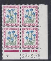 France Taxe N° 96 XX Fleurs : 10 C. Gentiane, En Bloc De 4 Coin Daté Du 23 . 9 . 75 ; 3 Points Blancs, Sans Charnière TB - Portomarken