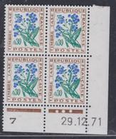 France Taxe N° 99 XX Fleurs : 30 C. Myosotis, En Bloc De 4 Coin Daté Du 29. 12 . 71 ; 3 Points Blancs, Sans Charnière TB - Portomarken