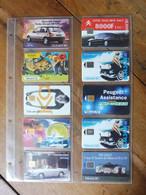 10 Télécartes (sur L'automobile) FRANCE TELECOM  Fiesta, Ford Ka, Peugeot, Ford, Peugeot Assistance, Renault, Citroën.. - Voitures