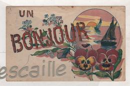 CP UN BONJOUR - FLEURS PENSEES VOILIERS SOLEIL COUCHANT - EDITIONS G. HAREL PARIS - CIRCULEE - Andere