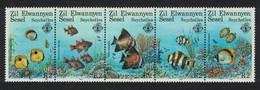 ZES Seychelles Coral Reef Fishes 5v Strip 1987 MNH SG#144-148 - Seychelles (1976-...)