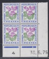 France Taxe N° 102 XX Fleurs : 1 F. Soldanelle, En Bloc De 4 Coin Daté Du 30 . 6 . 75 ; 1 Point Blanc, Sans Charnière TB - Portomarken