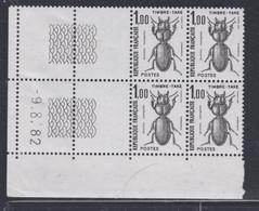 France Taxe N° 106 XX Insectes : 1 F. Coléoptère, En Bloc De 4 Coin Daté Du 9 .8 . 82 ; Sans Trait, Sans Charnière TB - Impuestos