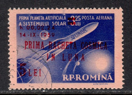 Romania 1959 Mi# 1794 Used - Overprinted - 1st Russian Rocket To Reach The Moon / Space - Oblitérés