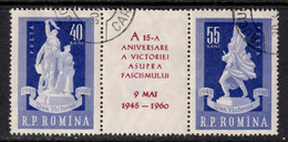 Romania 1960 Mi# 1843-1844 Used - Strip Of 3 - 15th Anniversary Of The Liberation / WWII - Oblitérés