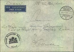 """1960, DIENST V.V.P. """"per Luchtpost"""" From SEROEI To Holland. - Nouvelle Guinée Néerlandaise"""