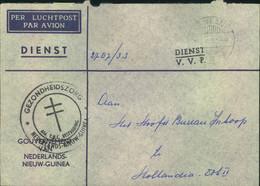 """1961, DIENST V.V.P. """"per Luchtpost"""" From SENTANI To Holland. - Nouvelle Guinée Néerlandaise"""