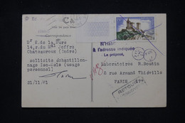 FRANCE - Château De Foix Sur Carte Postale De Châteauroux Pour Paris En 1961 Et Retour - L 101486 - 1961-....