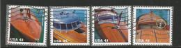 USA 2007 Vintage Mahogany Speedboats Sc. # 4160/3 Cpl 4v Set - Usados