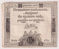 Assignat De Quinze Sols / 15 Sols - 24 Octobre 1792 - Série 1351 - Assignats