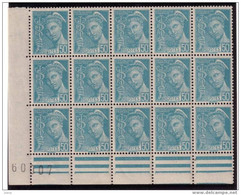 Mercure 50c Turquoise Yvert 538, Bloc De 15, Nombreuses Variétés D'impression,** - 1938-42 Mercurio