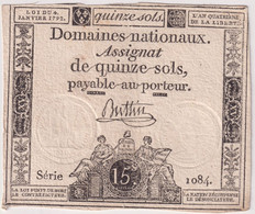 Assignat De Quinze Sols / 15 Sols - 4 Janvier 1792 - Série 1084 - Assignats