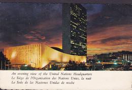 United Nations PPC Evening View Of Headquarters UNITED Nations New York 1981 KALUNDBORG Denmark (2 Scans) - Briefe U. Dokumente