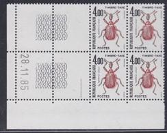 France Taxe N° 108 XX Insectes : 4 F. Coléoptère, En Bloc De 4 Coin Daté Du 28 . 11 . 85 ; 1 Trait, Sans Charnière TB - Impuestos