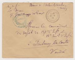Lettre Guerre Ww1 1918 Franchise Militaire Corrèze Mairie De St Hilaire Les Courbes Le Maire - Au 137e RI Fontenay 85 - Guerra De 1914-18