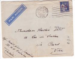 Paix Surcharge FM Oblitération TOULON VAR 1946 Lettre Avec Corresp. écrite En TUNISIE Base Aéronavale KAROUBA - Lettres & Documents