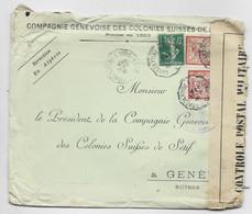 MERSON 40CX2+5C LETTRE MAL OUVERTE CONVOYEUR ALGERIE CONSTANTINE A BORDJ BOUIRA 1916 TO SUISSE GENEVE + CENSURE ALGER - Posta Ferroviaria
