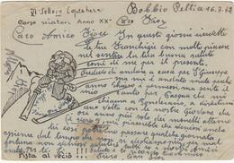 Cartolina In Franchigia Con Disegno Al Retro 1942 - Franchigia