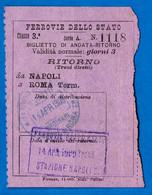 1909 Titre De Transport Retour (Billet De Train) Biglietto ITALIA Ferrovie Dello Stato NAPOLI - ROMA Term - Unclassified