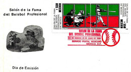 MEXICO - 1989 Hall Of Fame Baseball Serie Compl.2v. Annullo Rosso Su Busta Fdc - 5225 - Honkbal