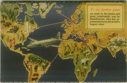 SCANDINAVIAN AIRLINES SYSTEM ( SWEDEN / DENMARK / NORWAY ) VINTAGE POSTCARD 1950s (BG11331) - Sonstige