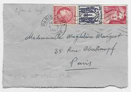 GANDON 3FR+ 50C CHAINE +1FR MAZELIN LETTRE PARIS 3.1.1947 TARIF 2EME JOUR DU TARIF - 1945-54 Marianne Of Gandon
