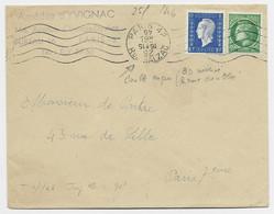 DULAC 10C + MAZELIN 80C   LETTRE MECANIQUE PARIS 42 RUE BALZAC 1945 ERREUR DU DATEUR   DU TARIF IMPRIME - 1944-45 Marianne Of Dulac