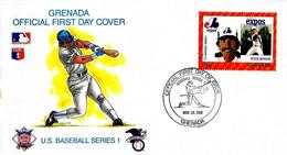 GRENADA - 1988 U.S.Baseball STEVE ROGERS Of EXPOS Montreal Su Busta Fdc - 4296 - Honkbal