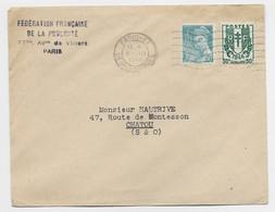 CHAINE 30C +50C MERCURE LETTRE PARIS 37 5.III.1945 AU TARIF IMPRIME - 1941-66 Coat Of Arms And Heraldry
