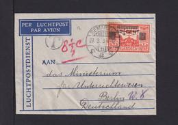 1934 - 42 1/2 C. Überdruck Auf Kleinem Luftpostbrief Ab Semerang Nach Berlin - Netherlands Indies
