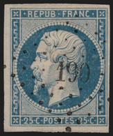 N°10, Présidence 1852, 25c Bleu Oblitéré PC 190 AUTERIVE Haute-Garonne - TB - 1852 Luigi-Napoleone