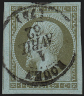 N°11, 1c Olive, Oblitéré Petit Càd ROUEN 1er/AVRIL/1862 - SUPERBE D'ASPECT - 1853-1860 Napoléon III