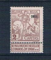 BELGIE  1911     CARITAS   OPDRUK  1911   Obc 94  **/*  Licht  Spoor Van Klever , Originele Gom - 1910-1911 Caritas