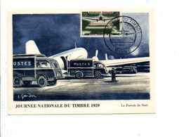 ALGERIE CARTE MAXIMUM 1959 JOURNEE DU TIMBRE - BONE - Storia Postale