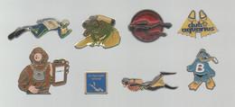 PINS PIN'S PLONGEE 933 BUTAGAZ FRAMETO AQUARIUS ACQUANOTES NORMANDS SP POMPIER SAL    LOT 8 PINS - Immersione