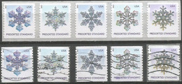 USA 2013 Snowflakes Presorted Standard Cpl 5v Set REALLY Used + MNH Strip5 - Prematasellado
