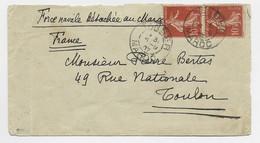 N° 135 PAIRE LETTRE COVER MAL OUVERTE TANGER MAROC 6.9.1907 + MENTION FORCE NAVALE DETACHEE AU MAROC - Correo Naval